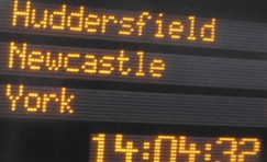 close up view of a matrix LED display with passenger information.
