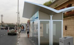 view of Trueform's first solar powered air conditioned waiting shelter.