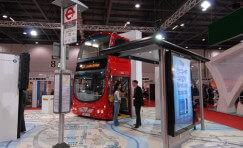 view of bus shelter and bus stop sign at UITP World Congress in Helsinki, Finland.