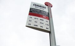 close up of a bus stop sign installed by Trueform.