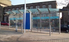 bus shelter in Burslem town centre.