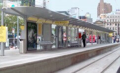 view of a tram station shelter at Manchester Metrolink.