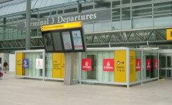 digital flight information outside Terminal 3 Depatures at Heathrow airport.