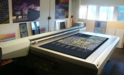 view of the new large format digital UVC printer for creating large wayfinding signage.
