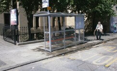 view of bus shelter to represent Fife council contract awarded Trueform.