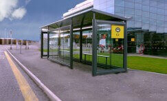 view of a bus shelter that has been designed to withstand a blast.
