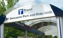 close up view of Doncaster park and ride waiting shelter.