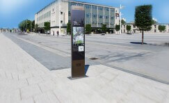 view of wayfinding signage totem installed in Peterborough.