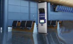 view of a touch screen kiosk installed in an airport.