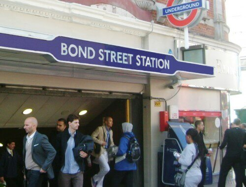 view of installed entrance canopy to Bond Street station.