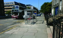 view of an installed bus shelter in reference to winning an Edinburgh bus shelter contract.