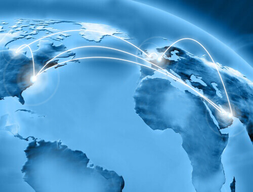 picture of a globe with connections between countries to represent Trueform's global presence.