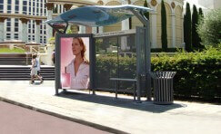 view of a digital dynamic 6 sheet display installed on a bus shelter.