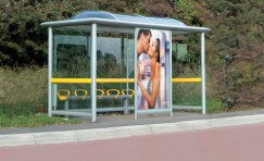 view of an installed elite bus shelter.