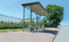 side view of installed Legacy bus shelter.
