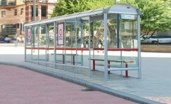view of an installed Metro bus shelter.