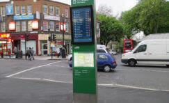 view of installed Ealing Broadway interchange digital totem.