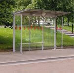 view of an installed flight bus shelter.