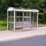 view of a bus shelter that has been designed to withstand acts of vandalism.