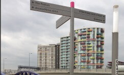 Queen Elizabeth Olympic Park fingerpost sign.