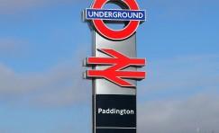 view of Paddington Legible London underground interchange totem.
