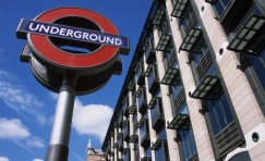 view of a type c roundel installed with a building to the right.