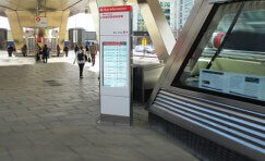 view of installed Tfl digital totem installed at Vauxhall Cross station.