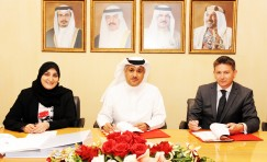 Bahrain Minister of Transportation, Undersecretary, Land Transportation & Post signing Bahrain transport contract.