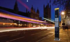 view of installed Legible London wayfinding totem at night.