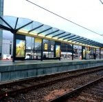 view of installed Metrolink Deansgate waiting shelter.