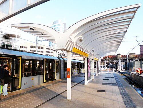view of platform waiting shelter at Greater Manchester.