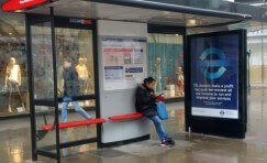 view of TfL advertising bus shelter from the front.