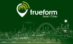 green and white outline picture of a city to represent smart cities.