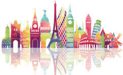 colourful landmarks from different european countries.