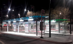 East Croydon bus interchange at night.